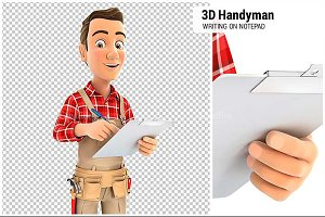 3D Handyman Writing on Notepad