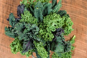 Red and curly kale leaves