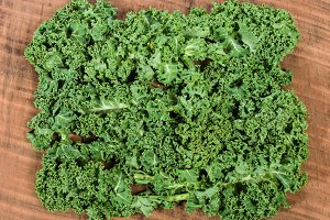 Curly kale on table
