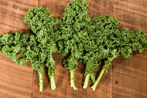 Group of curly kale leaves