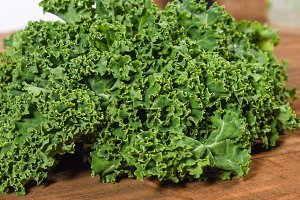 Fresh curly kale leaves