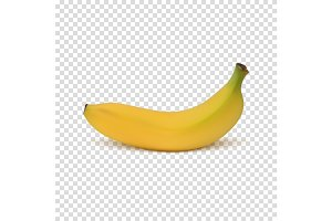Realistic banana icon.