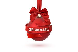 Christmas sale, decoration with red bow and ribbon.