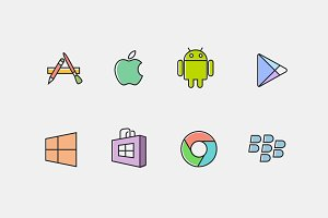 8 App Store Line Icons