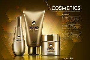 Vector gold cosmetics mockup