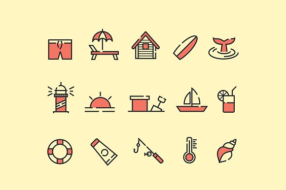 15 Beach Icons