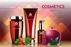 Vector realistic red cosmetic mockup