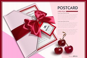 Vector realistic postcard template