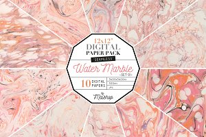 Seamless Digital Paper Water Marble