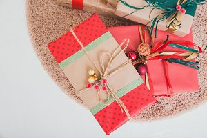 Gift paper boxes on the carpet