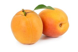 Two fresh apricots with leaf