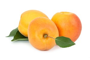 Three fresh apricot with leaf