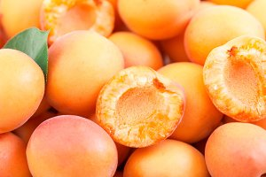 Background of fresh ripe apricots