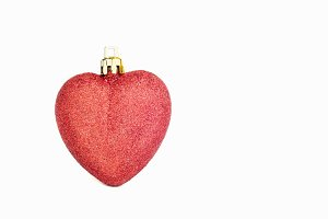 Christmas heart shaped red ball