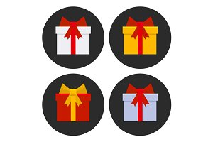 Colorful Gift Boxes Icons Set