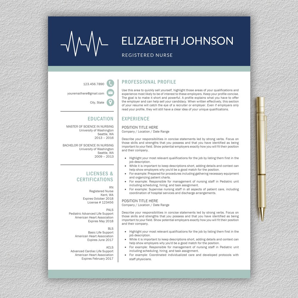 Medical Resume Template Nurse Resume Resume Templates Creative