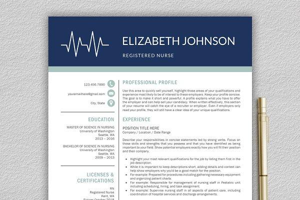 Nurse Resume Medical Cv Template Creative Resume Templates Creative Market