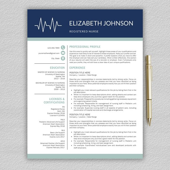 Nurse Resume Medical Cv Template Resume Templates Creative Market