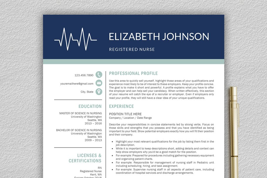 Nurse Resume | Medical CV Template ~ Resume Templates ...