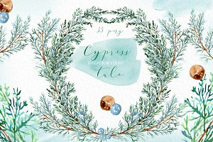 Cypress wreaths. Watercolor clipart