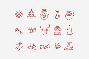 15 Christmas Doodle Icons