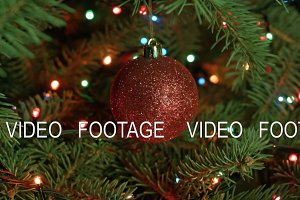 Christmas tree and Christmas decoration-red ball with garlands