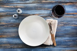 empty plate on a wooden background