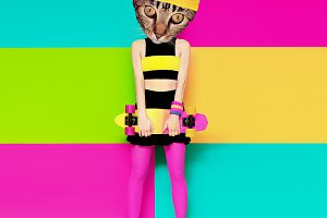 Kitty skater. Minimal design
