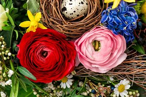 Easter bouquet with egg decoration