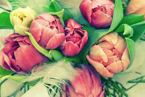 Tulip flowers and easter eggs