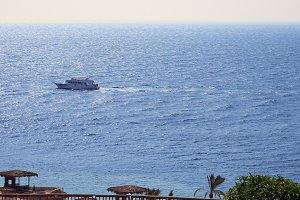 Powerboats and ship s sails along tropical sea