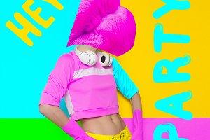 Pink lips DJ. Concept Crazy Party.