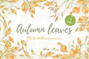 Hand-drawn leaves design set