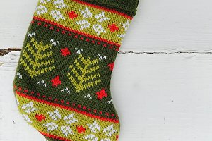 Christmas knitted mini sock.