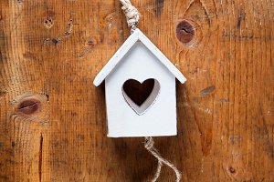 wooden house with a heart