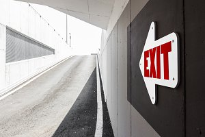 Arrow sign indicating the exit