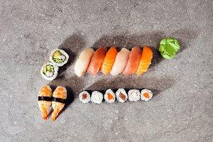Japanese food on grey stone background