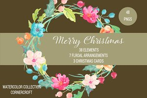 Watercolor Merry Christmas Clipart