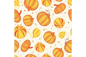 Vector orange, yellow pumpkins texture seamless repeat pattern background. Great for fall themed designs, invitation, fabric, packaging projects.
