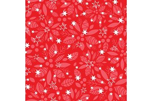 Vector red holly berry and stars holiday seamless pattern background. Great for winter themed packaging, giftwrap, gifts projects.