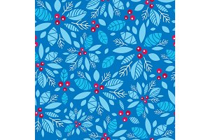 Vector holly berry blue, red holiday seamless pattern background. Great for winter themed packaging, giftwrap, gifts projects.