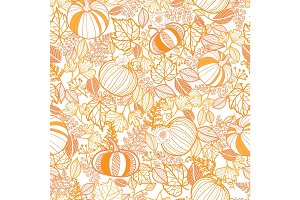 Vector orange ornate pumpkins seamless repeat pattern background. Great for fall themed designs, invitation, fabric, packaging projects.