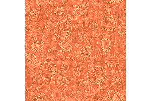Vector orange pumpkins texture seamless repeat pattern background. Great for fall themed designs, invitation, fabric, packaging projects.