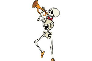 Vector skeleton plating trumpet music Haloween design element illustration. Great for spooky fun party themed gifts, giftwrap. packaging.