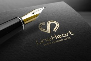 Line Heart Logo Template