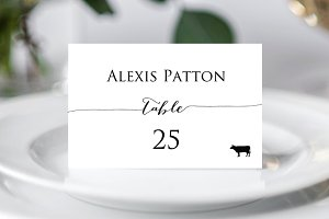 Place Card Templates with Meal Icons
