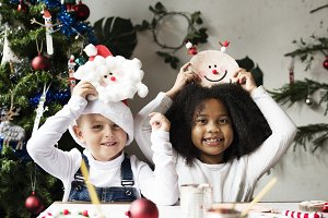 Happy kids with their DIY Christmas