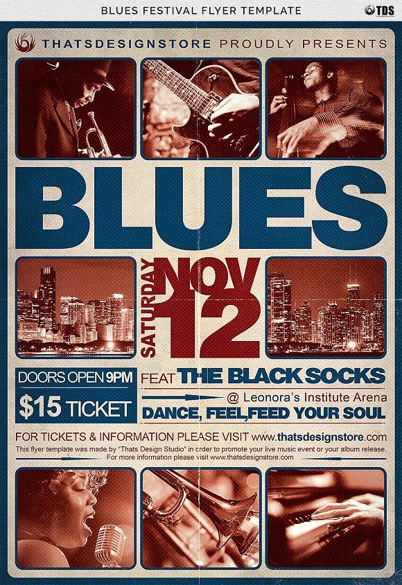 Blues Festival Flyer Template V2 Flyer Templates Creative Market