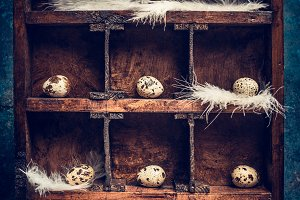 Easter eggs in wooden vintage box