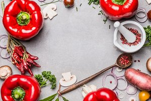 Cooking with red paprika, food frame